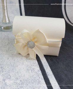 Konfet škrinjica ili sandučić je napravljen od reljefnog papira u boji šampanjca. Oko dna škrinjice je obavijena uska satenska traka na koju je zalepljena mašnica sačinjena od širokih i uskih trakica u čijoj sredini je akrilni kamenčić. Sandučić se može otvarati i zatvarati.