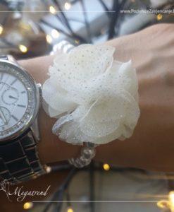 Megatrend - Biserna narukvica sa organdi cvijetom - 994a 2